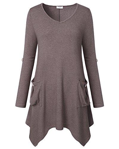 Ca Kra Damen Langarmshirt V-Neck Tunika Top Casual Loose Bluse Asymmetrisch T-Shirt Stretch Longshirt(Braun,L) (V-neck Tunika Bluse)