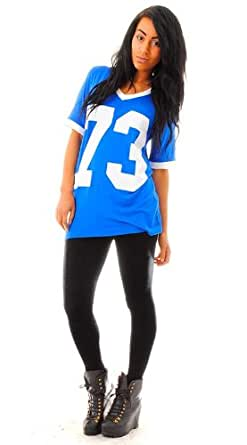 NEW WOMENS OVERSIZED VARSITY TOP 73 PLAYER V NECK ROYAL BLUE T-SHIRT TOP TEE 8-14