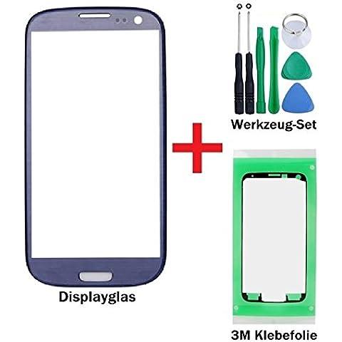 iTech Germany Pantalla de cristal kit de reparación para Samsung Galaxy S3 en Azul - Panel frontal táctil para i9300 i9301 i9305 NEO LTE + 3M Adhesivo y de 7-Piezas Juego de