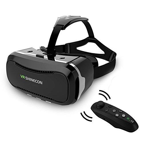 3D VR Virtual Reality Brille Headset für 4,5-6,0 Zoll Android Samsung usw. Smartphones mit Fernbedienung Schwarz