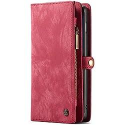 Samsung S10 Étui folio Coque Portefeuille avec fente pour carte, housse de protection avec bouton-pression, Rouge
