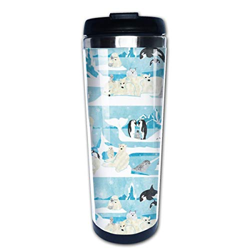 Animal Friends Multi Insulated Stainless Steel Travel Mug 14 oz Classic Lowball Tumbler with Flip Lid Thermos Nissan Travel Tumbler