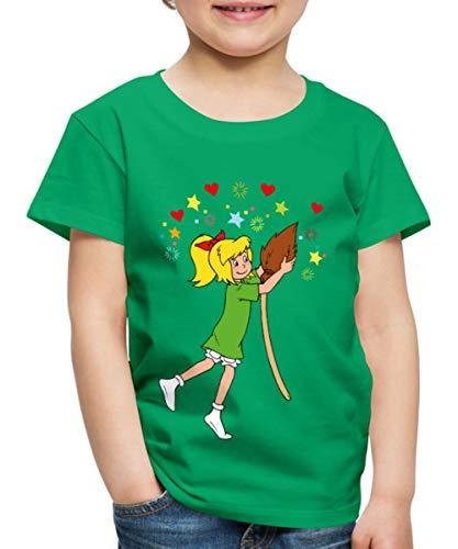 Spreadshirt Bibi Blocksberg Tanzt Mit Ihrem Besen Kartoffelbrei Kinder Premium T-Shirt, 122/128 (6 Jahre), Kelly Green (Hexe Besen Kinder)