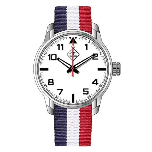 ROADSIGN Brisbane Herren Armbanduhr, Natoband Blau, Weiß, Rot