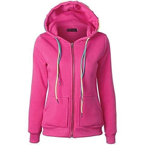 cappotto con cappuccio, FEITONG giacca donna con cappuccio sweatshirtzipper (Rosa, XL)