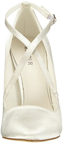 Menbur Wedding Rosario, Chaussures à talons - Avant du pieds couvert femme Blanc - Elfenbein (Ivory)
