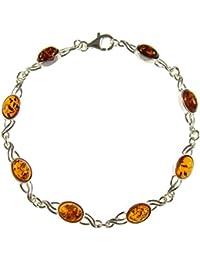 Creazioni Oro 925 Sterling Silver Bracelet with Irregularshape Orange Baltic Amber W0302