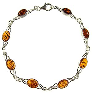 """8"""" inch/20cm baltic amber and sterling silver 925 ladies' designer cognac bracelet jewellery jewelry"""
