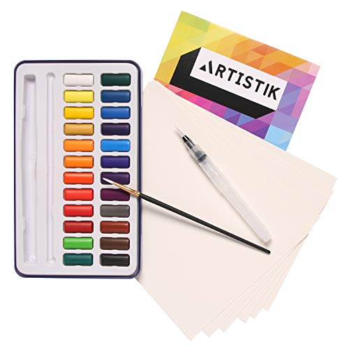 Premium Watercolour Paint Set - 24 Colours Pan Pallete Paints Travel Set Kit with Watercolor Pad, Paper, Waterbrush and Paintbrush for Artists, Beginners, Kids, Adults and Professionals