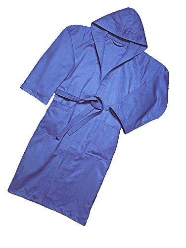Muma Bademantel aus Mikrofaser, mit Kapuze, Blau, blau, Small