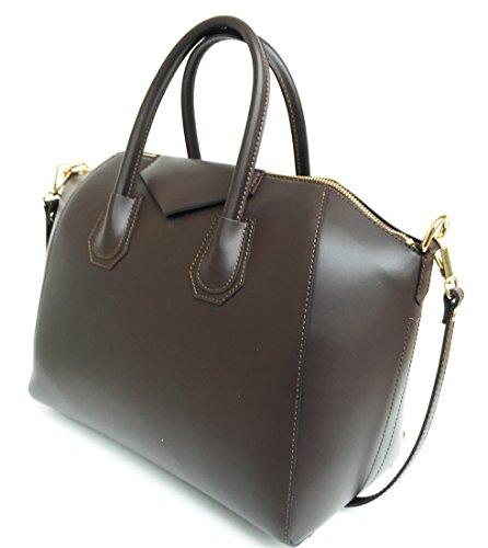 Superflybags Damentasche echt leder Modell Rebecca Einzigartige Tasche hergestellt mit besonderem glattem Leder dunkelbraun