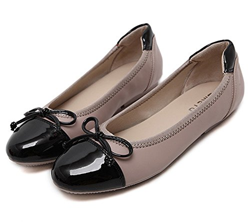 Rotonda Albicocca Pantofole Comode Scarpe Misti Da Donna Bowknot Minetom Testa Ballerina Piatta qYn4Rx