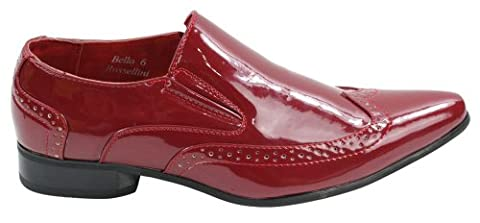 Mens Italian Design Black Red Leather Shiny Patent Shoes Smart Pointed