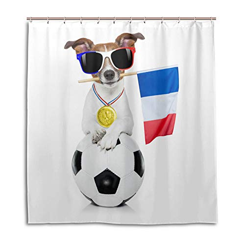 YULIANGE France 2018 World Champions Shower Curtain 100{c5ac8fd3e06dc7ded822bbce3ff2ef24df3d70ef35896fc326fd30abd3c9ff01} Polyester Waterproof Cloth Bathroom Curtain Mildew Resistant Bathroom Curtain-120 * 180Cm