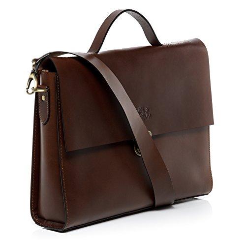 """SID & VAIN Aktentasche TRISH - Laptoptasche fit für 15,4"""" mit Extra-Abtrennung- Businesstasche mit Schultergurt echt Sattelleder braun braun"""