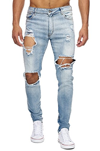 MEGASTYL Herren Hose Ripped Jeans Eisblau Slim-Fit Stretch-Denim