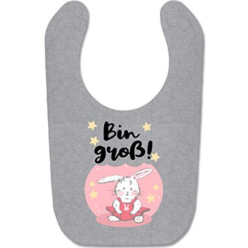 Shirtracer Tiermotive Baby - Hase Bin groß - Unisize - Grau meliert - BZ12 - Baby Lätzchen Baumwolle