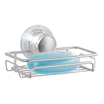 mdesign seifenschale seifenablage dusche ohne bohren befestigung mit saugnapf fr maximale stabilitt silberfarben - Seifenablage Dusche Ohne Bohren