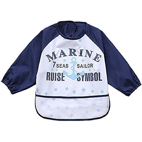 sohv Unisex Bambini Arts Craft pittura grembiule bambino impermeabile Bavaglino con maniche e tasca, 6–36mesi, B blu scuro lettere, Set di 1