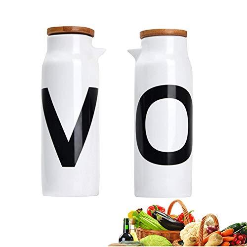 MAI&BAO Öl Flasche Keramik Öl Essig Spender Ölflasche küche Ölbehälter Auslaufsicher Ausgießer Staubdicht, Sauce Cruet 480ML weiß 2 Stück - Küche öl-flasche