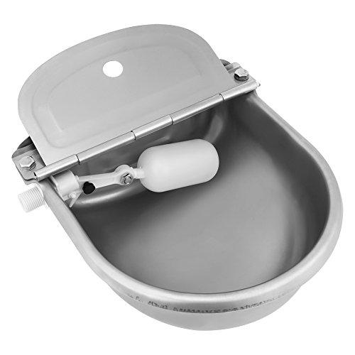 4L Bebedero Cuenco de Agua Tazón de Acero Inoxidable para Caballos, Cabras, Ovejas, Ganado (Valvula Plastica, Plateado)
