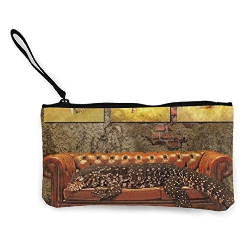 Portafoglio unisex, Decadence Grunge Ruin Brick Wall And A Giant Lizard On Sofa Surreal Art Canvas Coin Purse Cute Pouch Change Purse With Zipper Cash Bag Small Wallet Card Key Case For Women
