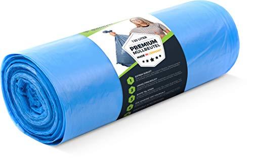 Müllsack 120 Liter - 70 μ 25 Stück Premium XL für Haushalt Industrie, Extrem reißfest - Rolle Sack Blau, Mülltüten, Abfallsäcke - Stabile Müllbeutel - Extra Stark, dicht groß 700x1100 Müllentsorgung (Blau Hoch Mülltonne)