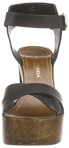 Vero Moda - Vmbea Leather Sandal, Sandali con platea Donna Nero (Nero (nero))