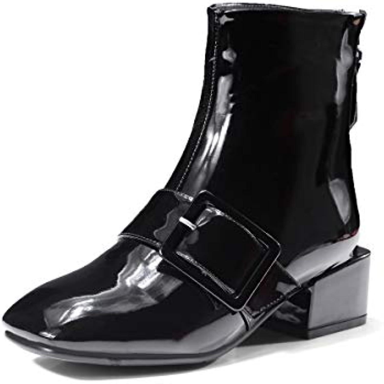 Stivaletti Da Donna Pu Leather Chelsea avvioie Low Block Tacco Zip Punta Arrossoondata Autunno Moda Scarpe Casual | finitura  | Uomini/Donne Scarpa