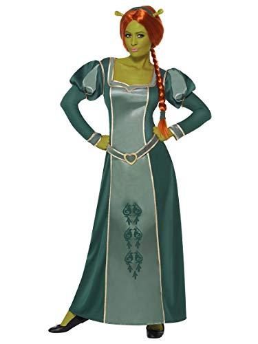 Damen Offiziell Dreamworks Shrek Prinzessin Fiona lang voll Länge Film Halloween Kostüm Kleid Outfit - Grün, 12-14