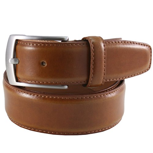 Lindenmann Mens leather belt/Mens belt, leather belt curved, cognac