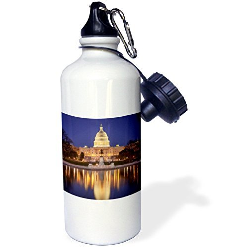 Sports Water Bottle Gift for Kids Girl Boy, Evening Below The Us Capitol Building Washington Dc Usa Brown Stainless Steel Water Bottle for School Office Travel 21oz (Capitol Building Us)