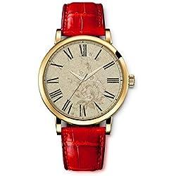 Damenuhr Analog Armbanduhr iCreat Rot echte Leather Schnalle Schönes Zifferblatt mit Vintage Retro Blumen