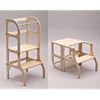 Learning tower/table/chair, all-in-one, Montessori kitchen helper step stool for toddlers - WOODEN color/GOLD clasps