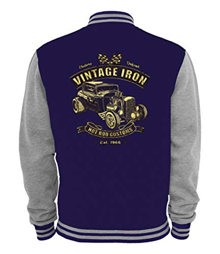 Ethno Designs - Vintage Iron - Hot Rod Veste College Old School Rockabilly Retro Style pour Femmes et Hommes, navy / sports grey, taille L