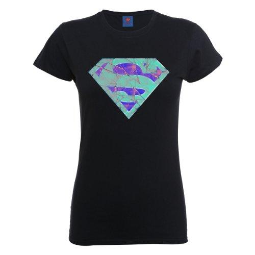 DC Universe Damen T-Shirt Dc Comics Official Superman Glass Logo Womens T-shirt Schwarz - Schwarz