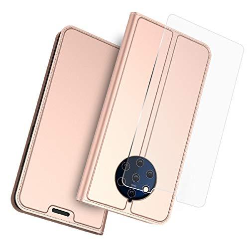 FindaGift Nokia 9 Handyhülle Ledertasche,Leder Brieftasche[Panzerglas Schutzfolie][Standfunktion] [Kartenfach] [Magnetverschluss] Schlank Flip Case Slim Back Case-Rose Gold