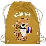 Fußball-Weltmeisterschaft 2018 Kinder - Fußball Kroatien Hund - Unisize - Senfgelb - WM110 - Turnbeutel & Gym Bag