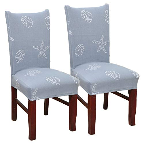 Blue Shell Starfish Print Stretch Removable Washable Short Dining Chair Protector Cover Slipcover, 2PC Set for Dining Room Ceremony Party Hotel Restaurant