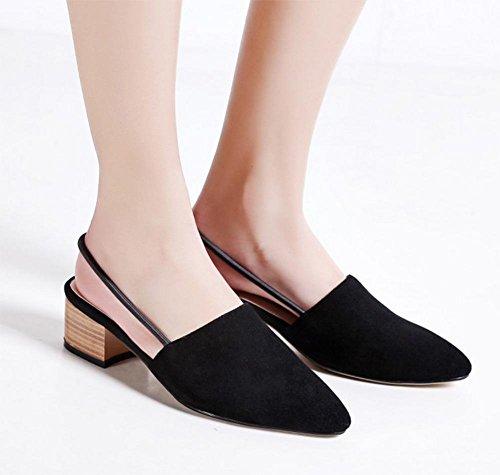 Baotou Frühling und Sommer Sandalen mit dicken mit spitzen Pantoffeln weibliche kühle in Black