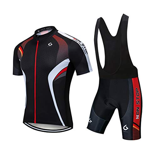 GWELL Herren Radtrikot Atmungsaktive Fahrradbekleidung Set Trikot Kurzarm + Radhose mit Sitzpolster für Radsport Schwarz-Rot (Set mit schwarzer Trägerhose) L