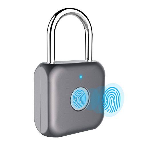 Mini candado de huella dactilar, candado inteligente, sin llave, carga USB, bloqueo biométrico de alta seguridad para gimnasio, taquilla, unidades de almacenamiento, equipaje, maletas