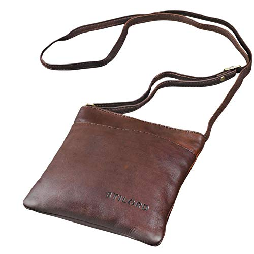 STILORD 'Lana' kleine Umhängetasche Damen Ausgehtasche Schultertasche Handtasche echtes Büffel Leder Vintage Design, Farbe:Ebenholz - braun