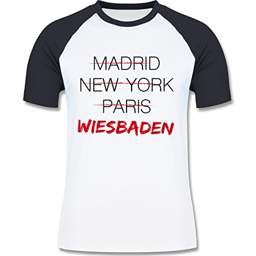 Städte - Weltstadt Wiesbaden - zweifarbiges Baseballshirt für Männer Weiß/Navy Blau