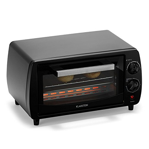 Klarstein Minibreak - Mini four ultra compact 11L avec minuterie et température jusqu'à 250°C (800W, plaque et grill, 2 éléments de chauffe)