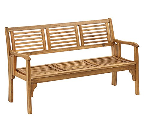 Dehner Klappbank Douglas, 3-Sitzer, ca. 150 x 62 x 90 cm, FSC Akazienholz, geölt, Natur