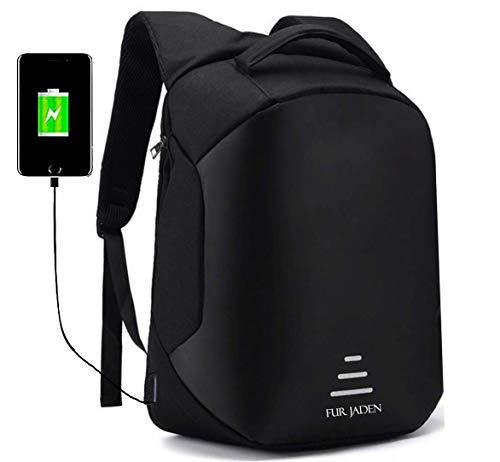 Fur Jaden 20L Black Anti Theft Bag 15.6 Inch Laptop Backpack with USB Charging Port Image 2