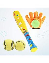 Toyvian 4pcs, Juguetes Deportivos, béisbol, Ocio, Guante Deportivo y Pelota Suave, para niños