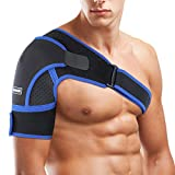 Adjustable Shoulder Support Brace,SGODDE Neoprene Upper Arm Belt Wrap,Compatible with Hot/Cold Pad,Therapy Compression Wrap for Rotator Cuff, Dislocated AC Joint, Sprain, Bursitis, Tendinitis