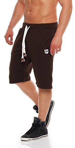 Gennadi Hoppe Herren Sweat Short Cotton Sweat Short Kurze Hose Bermuda Sweatpant Sport Shorts,braun,L